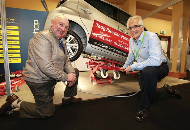 Pictured at the Body Shop Solutions stand at the Auto Trade EXPO 2015 exhibition in Citywest, were Pat Doyle, Peugeot dealer in Gorey and Mark Swaby.
