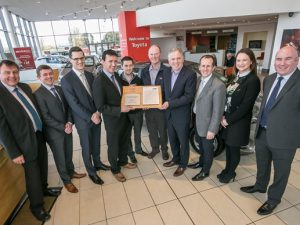 Steve Tormey CEO Toyota Ireland (four from left) presenting Brian Hennessy, Service Manager, Ger Skehan, After Sales Manager and James Walsh,of Walsh's Toyota Kilkenny, with the Toyota Ireland TSM Approval for Body and Paint. Also in the pictured from left are, Peter Daly, Synergy, Douglas Laffan and Paul Murray Toyota Ireland, Darren Pine, Toyota Motor Europe, Mairead Brennan, Walsh's Toyota and Karl Walsh, Synergy.