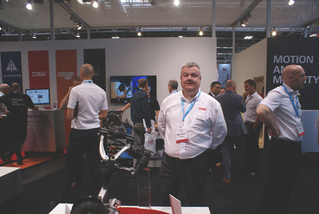 Cyril Daly, TRW Aftermarket on the company's stand at Automechanika Birmingham