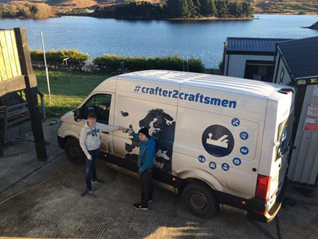 Craftsmen Ronan and Conor McGarvey of Donegal Pens with the new Volkswagen Crafter Van, which came to Ireland to visit them at their premises.